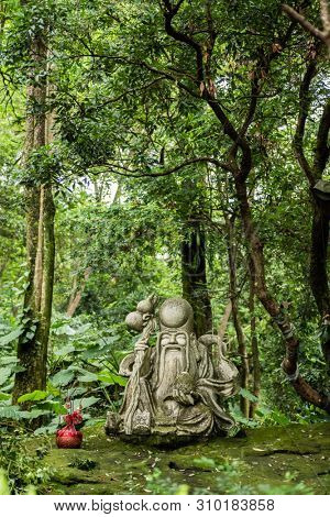 taoism stone statue under a tree in the garden poster
