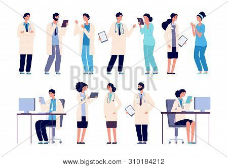 Doctor Characters. Medical Hospital Staff People. Doctor Nurse Surgeon Pharmacist Dentist In Medic U