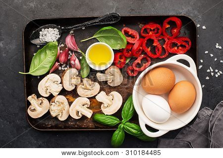 Healthy Food Nutrition. Ingredients For Vegetable Wholesome Frittata: Capsicum Pepper, Mushrooms, Ba