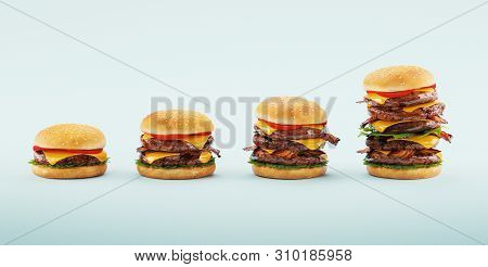Hamburger. Fast Food Diet Concept, Compulsive Overeating And Dieting. 3d Rendering