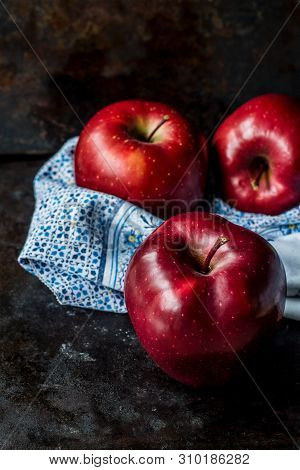 Delicious Red Apples On The Table, Great Diet