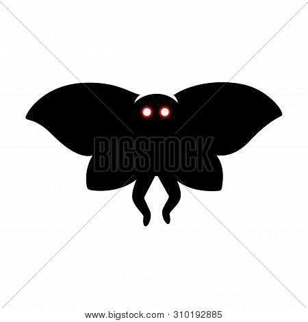 Mothman Monster, Paranormal Cryptid Creature From West Virginia Folklore. Creepy Silhouette Vector I