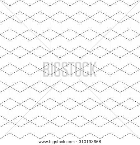Seamless Geometric Pattern. Cubic Hexagon Texture. Rhomb Mesh Background.