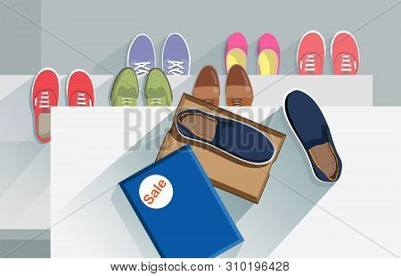 Shoe Moccasin In Box On A Shelf. Sneaker Sport. Shoe Athletic. Fashion Footwear. Concept Vector Red,