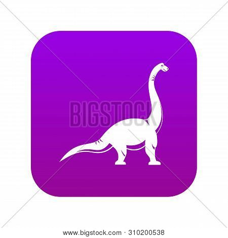 Brachiosaurus Dinosaur Icon Digital Purple For Any Design Isolated On White Vector Illustration