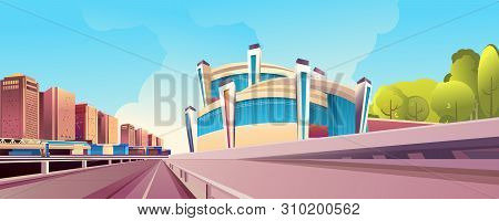 Vector Horizontal Illustration, Daytime City Landscape, Outskirts Of The City, With A Large Trestle