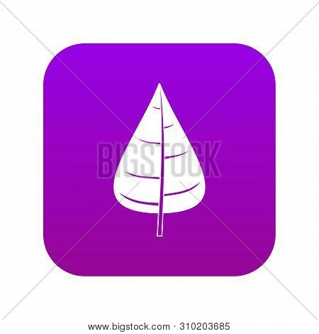 Poplar Leaf Icon Digital Purple For Any Design Isolated On White Vector Illustration