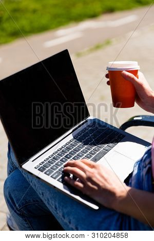 Beautiful Young Woman Wearing Autumn Coat Using Laptop While Sitting On A Bench, Drinking Takeaway C