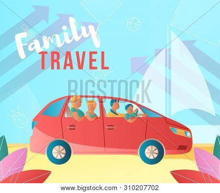 Modern Cartoon Flat Characters, Family Travet By Car Landing Page, Sales Poster, Banner Flyer, Web O