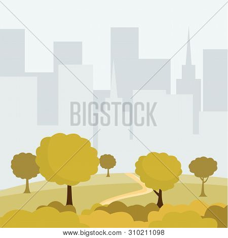 Modern City Park Cartoon Vector Illustration. Green Trees And Bushes Walkway, Buildings Cityspace, O