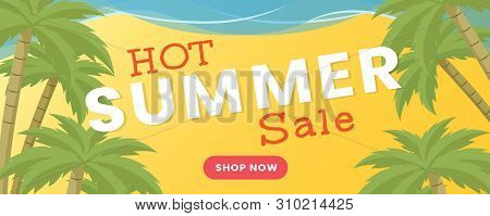 Summertime Wholesale Flat Banner Vector Template. Summer Season Sale, Shopping Promotional Poster Co