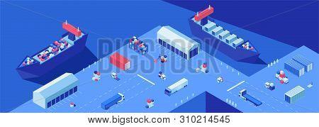 Shipping Dock Isometric Flat Vector Illustration. Shipment Transportation, Import And Export Busines