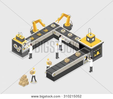 Automated, Programmed Assembly Line With Workers. Modern Factory, Industry Manufacturing Process, Eq