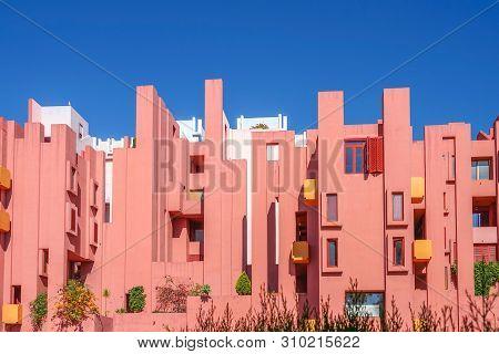 Calp, Spain, 17 June, 2019: La Muralla Roja Building, Red Wall Building In Calp, Spain