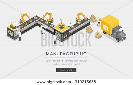 Manufacturing Industry, Business Landing Page Template. Fully Automated, Autonomous Assembly Process