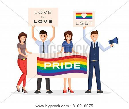 Lgbt Protesters Strike Vector Illustration. Cartoon Male, Female Activists With Rainbow Colored Plac