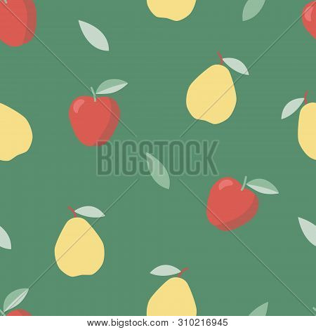 Summer, Sweet Food. Vegetable Diet. Colorful Pattern With Apple And Pear.