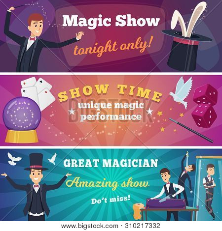 Circus Party Banners. Magic Show With Wizard Characters Circus Tricks Vector Cartoons Background. An