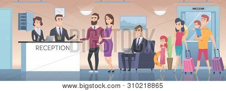 Hotel Reception. Modern Interior Of Guest Room Big Hall With Lounge Zone Lobby In Hotel Vector Carto