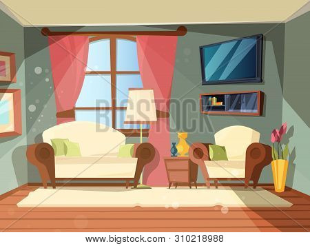 Luxury Room. Premium Interior Of Living Room With Perfect Old Wooden Furniture Lounge Place Vector C