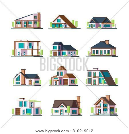 Modern Buildings. Living Houses Villa Townhouse Suburban Facade Constructions Tower Vector Flat Illu