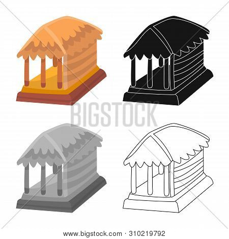 Isolated Object Of Hut And House Sign. Collection Of Hut And Gazebo Stock Vector Illustration.