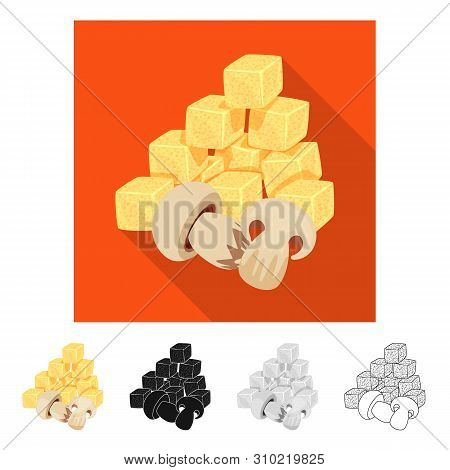 Vector Illustration Of Croutons And Mushroom Sign. Collection Of Croutons And Snack Vector Icon For