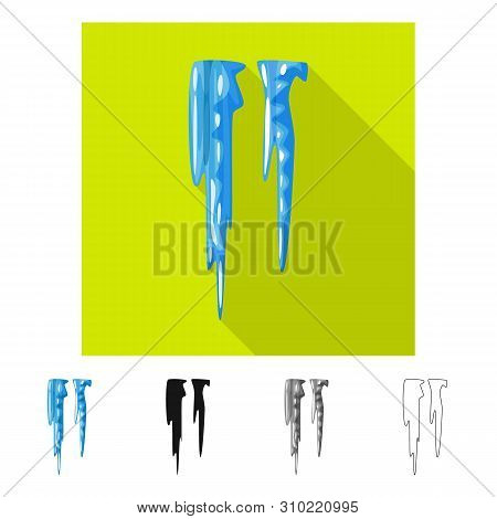 Vector Illustration Of Icicle And Ice Sign. Set Of Icicle And Froze Stock Symbol For Web.