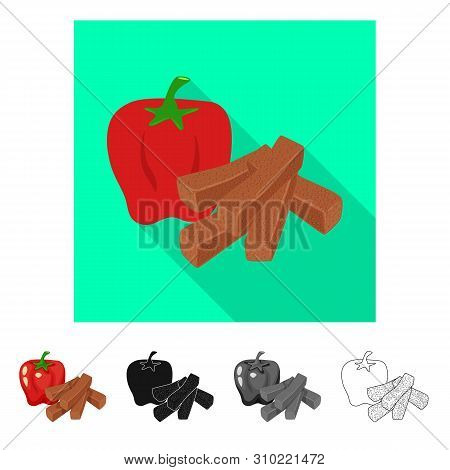 Vector Illustration Of Croutons And Bread Sign. Collection Of Croutons And Red Stock Vector Illustra
