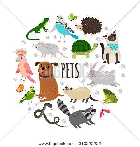 Popular Pets Round Banner Design. Vector Cartoon Animals Isolated On White Background. Illustration