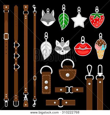 Vector Leather Belts, Pendants, Colars, Belts Elements Isolated On Black Background. Illustration Of