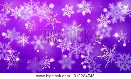 Christmas Blurred Background Of Complex Defocused Big And Small Falling Snowflakes In Blue And Purpl