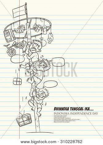 Celebration Indonesia Independence Day, The Greasy Pole Game Cartoon Illustration, Bhinneka Tunggal
