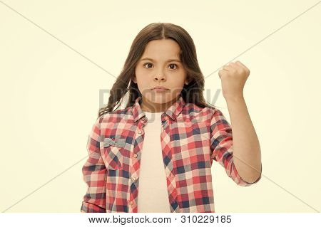 Punch You In Your Face. Stop Bullying Movement. Girl Threatening With Fist. Threatening Physical Att