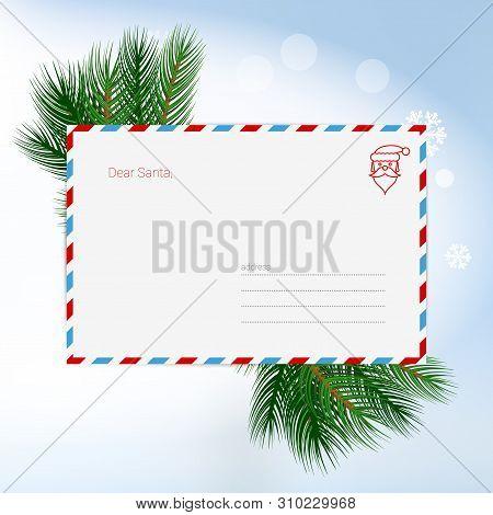 Dear Santa Christmas Letter In Envelope, Christmas Background. Child Wish List For Santa Claus. Blan