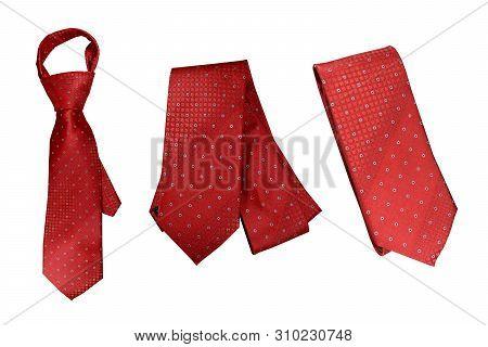 Red Necktie On White Background,fashion Red Necktie