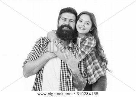 Little Girl Child Love Father. Happy Family, Happy Child. Bearded Man Father With Child. Fathers Cut