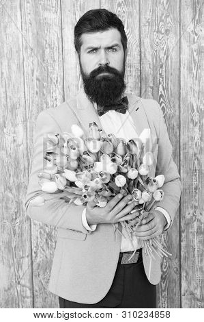 To Say I Love You. Womens Day. Flower For March 8. Spring Gift. Bearded Man Hipster With Flowers. Be