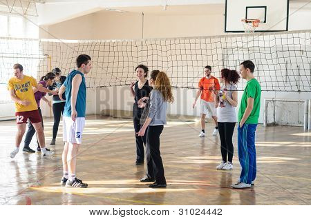Preparing for volleyball match