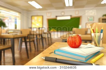 Cartoon Style School Elements - Book, Pen, Pencils And Red Apple On Desk In Empty Classroom. 3d Rend