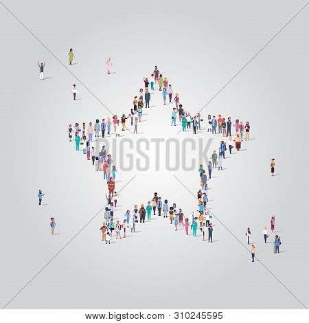 People Crowd Gathering In Star Shape Social Media Community Feedback Concept Different Occupation Em