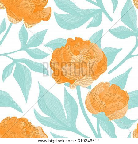 Embroidered Flowers On A White Background Seamless Pattern. Print For Textiles Hand-drawn Peonies.