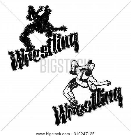 Set Of Hand Drawn Sport Logos, Badges, Labels. Freestyle Wrestling Illustration. Sport Silhouette. W