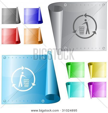 Recycling bin. Metal surface. Raster illustration. Vector version is in my portfolio.