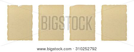 Old Vintage Textured Ripped Paper Isolated On White Background.