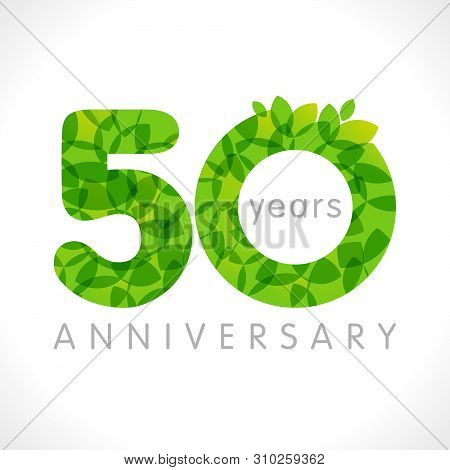 50 Th Anniversary Numbers. 50 Years Old Logotype. Age Congrats, Congratulation Idea With Leaves. Iso