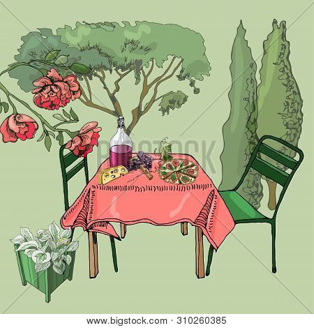 Scene With Outdoor Lunch. Hand Drawn And Colored Cutout Objects. Food, Container  Plants And Furnitu