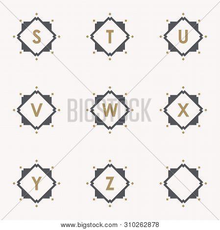 Simple And Elegance Set Letter Emblem S T U V W X Y Z Symbol Inside Abstract Square On The Pink Back