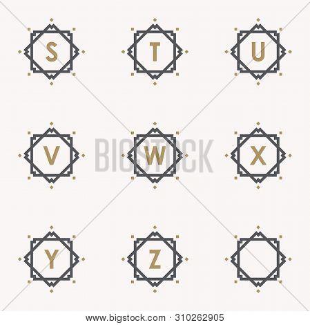 Simple And Elegance Set Letter Emblem S T U V W X Y Z Symbol Inside Abstract Square. Set Simple Embl