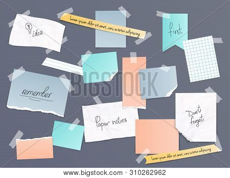 Collection Of Various Note Papers, Banner Set. Different Scraps Of Paper Stuck By Sticky Tape. Vecto